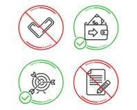 Insieme delle icone del segno di spunta, dell'obiettivo e del portafoglio Segno dell'articolo Confermi il controllo, mirante, ero illustrazione vettoriale