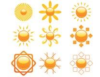 Insieme delle icone del sole Fotografia Stock
