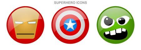 Insieme delle icone del supereroe Immagini Stock Libere da Diritti