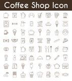 Insieme delle icone del tè e del caffè nero Fotografia Stock Libera da Diritti
