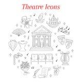 Insieme delle icone del teatro disegnate a mano, scarabocchio di vettore Fotografie Stock