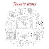 Insieme delle icone del teatro disegnate a mano, scarabocchio di vettore Immagini Stock