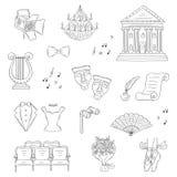 Insieme delle icone del teatro disegnate a mano, scarabocchio di vettore Immagine Stock Libera da Diritti