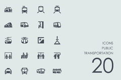 Insieme delle icone del trasporto pubblico Immagini Stock