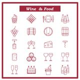 Insieme delle icone del vino Illustrazione di vettore con le bottiglie fotografia stock