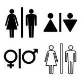 Insieme delle icone del wc Icona di genere Icona della toilette Icona della donna e dell'uomo isolata su fondo bianco Illustrazio Immagine Stock