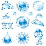 Insieme delle icone dell'acqua. Immagini Stock