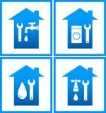 Insieme delle icone dell'acqua dell'impianto idraulico Fotografie Stock