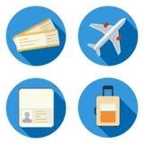 Insieme delle icone dell'aeroplano nel vettore piano di stile di progettazione Fotografie Stock