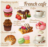 Insieme delle icone dell'alimento Caffè francese Bigné del cioccolato con la forcella Immagini Stock Libere da Diritti