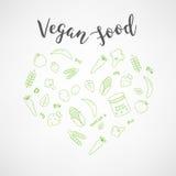 Insieme delle icone dell'alimento del vegano Verdure e frutta Linea sottile icone Tipografia disegnata a mano Fotografie Stock Libere da Diritti