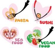 Insieme delle icone dell'alimento nelle forme dei cuori: Giapponese Cuisi Immagine Stock Libera da Diritti