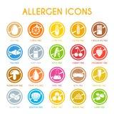 Insieme delle icone dell'allergene Fotografia Stock