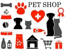 Insieme delle icone dell'animale domestico Fotografia Stock