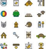 Insieme delle icone dell'animale domestico del fumetto Immagine Stock Libera da Diritti