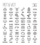 Insieme delle icone dell'animale domestico nella linea stile sottile moderna Fotografia Stock Libera da Diritti