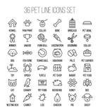Insieme delle icone dell'animale domestico nella linea stile sottile moderna Immagini Stock Libere da Diritti