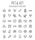 Insieme delle icone dell'animale domestico nella linea stile sottile moderna Fotografie Stock