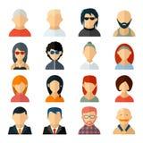 Insieme delle icone dell'avatar dell'utente nello stile piano Fotografia Stock