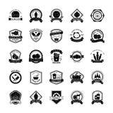 Insieme delle icone dell'emblema dell'alimento illustrazione vettoriale