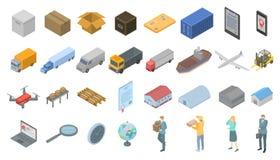 Insieme delle icone dell'esportazione delle merci, stile isometrico illustrazione di stock