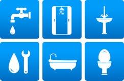 Insieme delle icone dell'impianto idraulico Immagini Stock Libere da Diritti