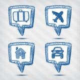 Insieme delle icone dell'indicatore di viaggio Immagini Stock Libere da Diritti
