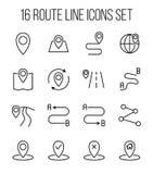 Insieme delle icone dell'itinerario nella linea stile sottile moderna Immagini Stock Libere da Diritti