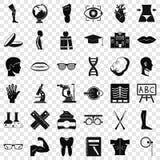 Insieme delle icone dell'organo umano, stile semplice illustrazione vettoriale