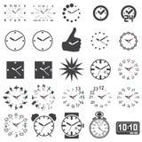 Insieme delle icone dell'orologio Fotografia Stock Libera da Diritti
