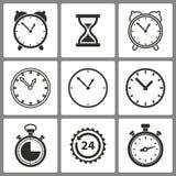 insieme delle icone dell'orologio illustrazione di stock