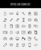 Insieme delle icone dell'ufficio nella linea stile sottile moderna Fotografie Stock