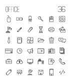 Insieme delle icone dell'ufficio nella linea stile sottile moderna Immagine Stock Libera da Diritti