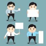 Insieme delle icone dell'uomo d'affari con carta in bianco e l'insegna Immagini Stock Libere da Diritti