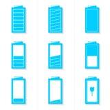 Insieme delle icone della batteria con il livello differente di tassa Fotografia Stock Libera da Diritti