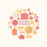 Insieme delle icone della cucina Fotografia Stock