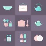 Insieme delle icone della cucina Fotografie Stock
