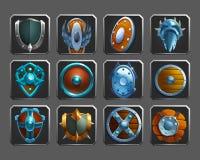 Insieme delle icone della decorazione per i giochi Raccolta degli schermi medievali Fotografie Stock