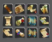 Insieme delle icone della decorazione per i giochi Raccolta dei rotoli, pergamene, mappe Immagini Stock Libere da Diritti