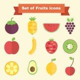 Insieme delle icone della frutta Fotografie Stock Libere da Diritti