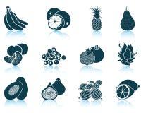 Insieme delle icone della frutta Fotografia Stock