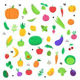 Insieme delle icone della frutta e delle verdure illustrazione vettoriale