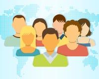 Insieme delle icone della gente con la mappa della terra su fondo Immagine Stock
