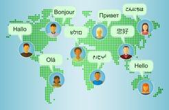 Insieme delle icone della gente sul fondo della mappa della terra Immagini Stock