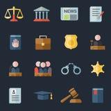 Insieme delle icone della giustizia e di legge Immagini Stock Libere da Diritti