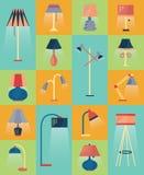 Insieme delle icone della lampada di vettore Immagini Stock Libere da Diritti