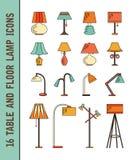 Insieme delle icone della lampada di vettore Fotografie Stock