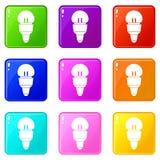 Insieme delle icone 9 della lampadina del riflettore Immagine Stock