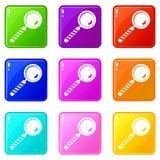 Insieme delle icone 9 della lente d'ingrandimento Immagini Stock Libere da Diritti