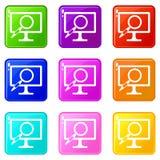 Insieme delle icone 9 della lente d'ingrandimento del monitor del computer Immagini Stock